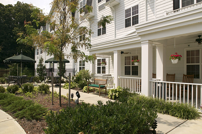 Brightview Catonsville Exterior Porch with Garden - Maryland Senior Living