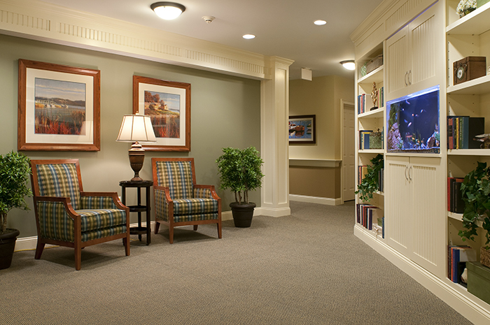Brightview Concord River Seating Area with Aquarium - Massachusetts Senior Living