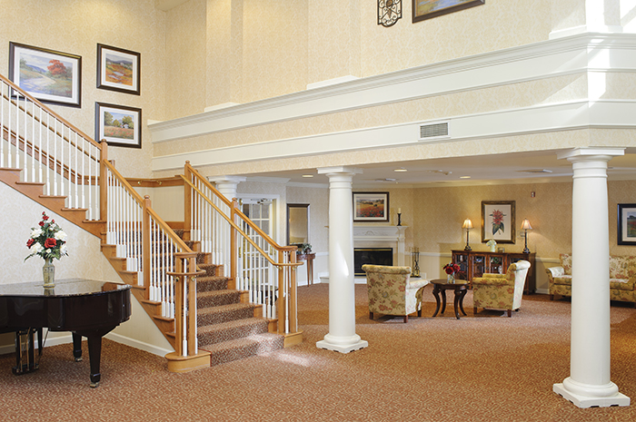 Brightview Mount Laurel Grand Staircase - New Jersey Senior Living