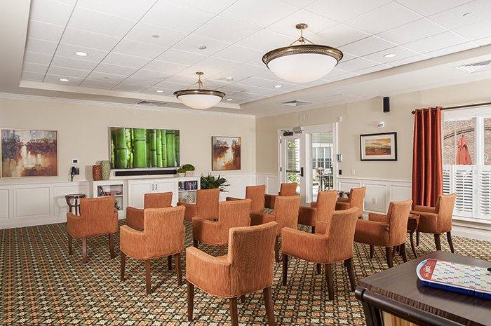 Brightview on New Canaan Television Viewing Room - Connecticut Senior Living