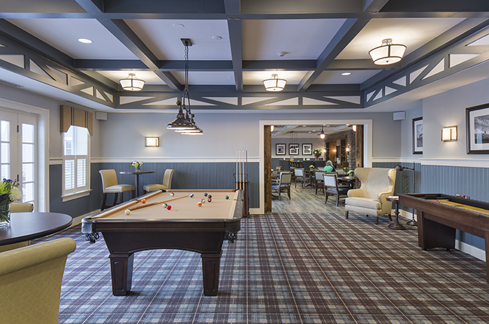 Brightview Warren Pub Area with Pool Table - New Jersey Senior Living