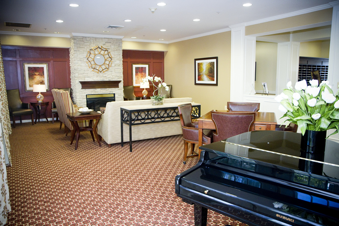 Brightview White Marsh Living Room with Grand Piano - Maryland Senior Living