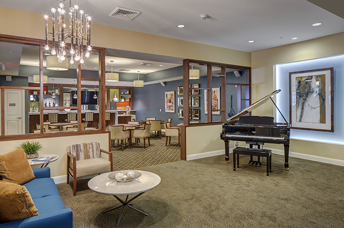 Brightview Woodburn Living Room with Grand Piano - Virginia Senior Living