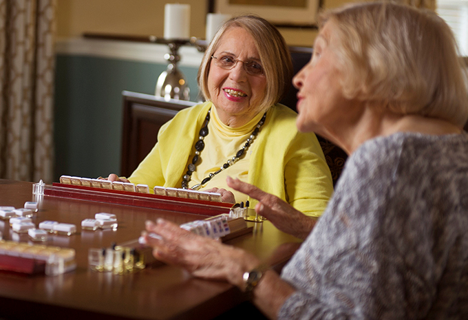 Brightview Senior Living Residents Playing Mahjong