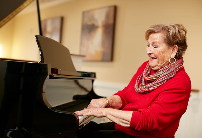 Brightview Senior Living Resident Playing the Piano