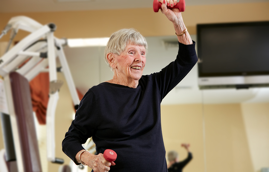Brightview Senior Living Resident Lifting Weights