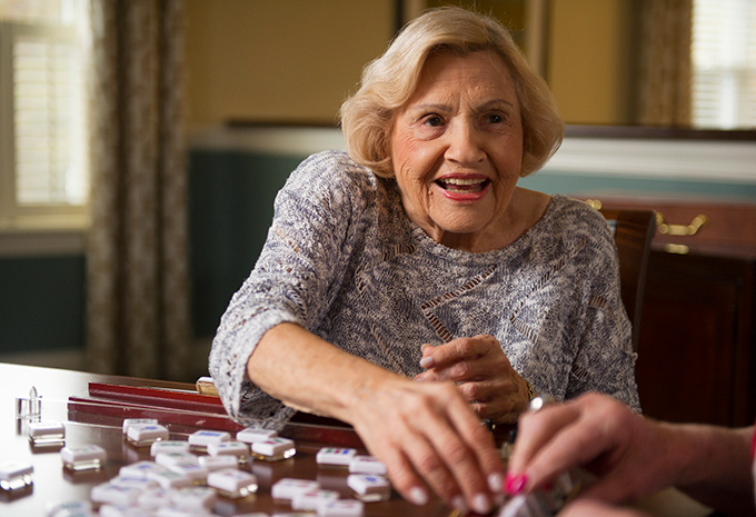 Brightview Senior Living Independent Resident Playing Mahjong