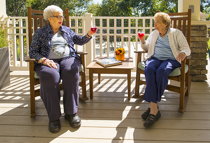 Brightview Assisted Living Residents Toasting on Patio