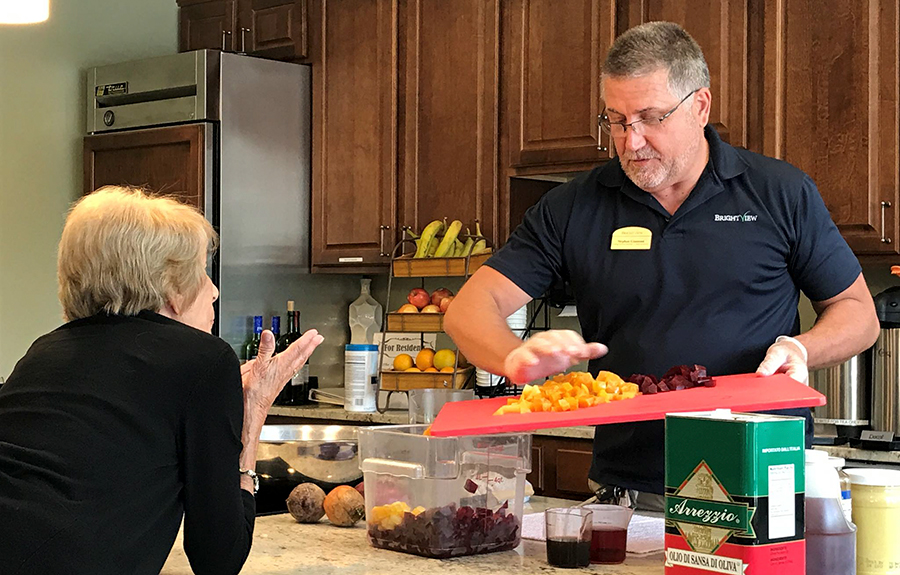 Brightview Senior Living Chef Cooking with Resident