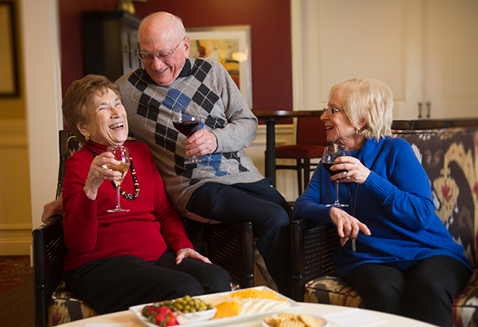 Brightview Senior Living Residents Enjoying Happy Hour