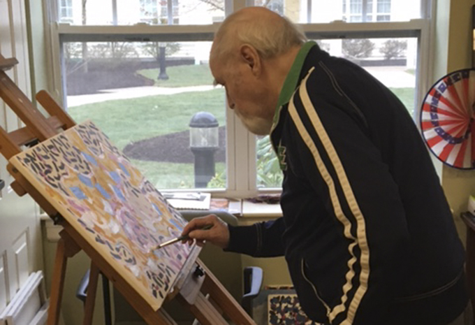 Brightview Wellspring Village Dementia Care Resident painting on easel