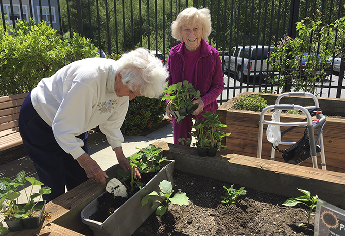 Brightview Wellspring Village Memory Care Residents gardening in back patio